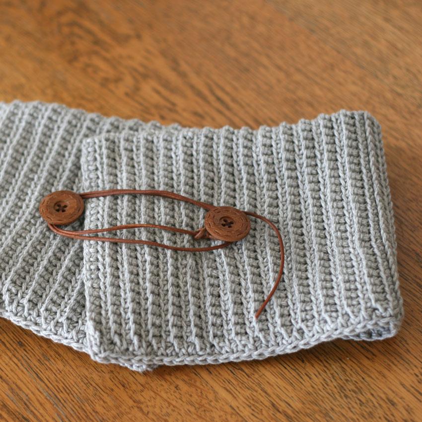かぎ針編み うね編みアレンジのネックウォーマー