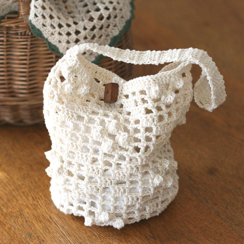 かぎ針編み 方眼とポップコーンのバッグ