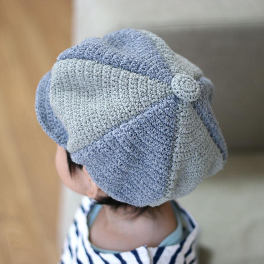かぎ針編み 6枚はぎ子どもキャスケット