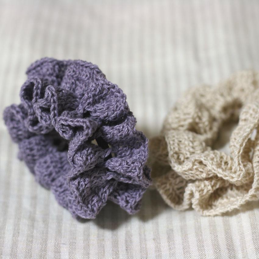 かぎ針編み バイアスフリル風シュシュ