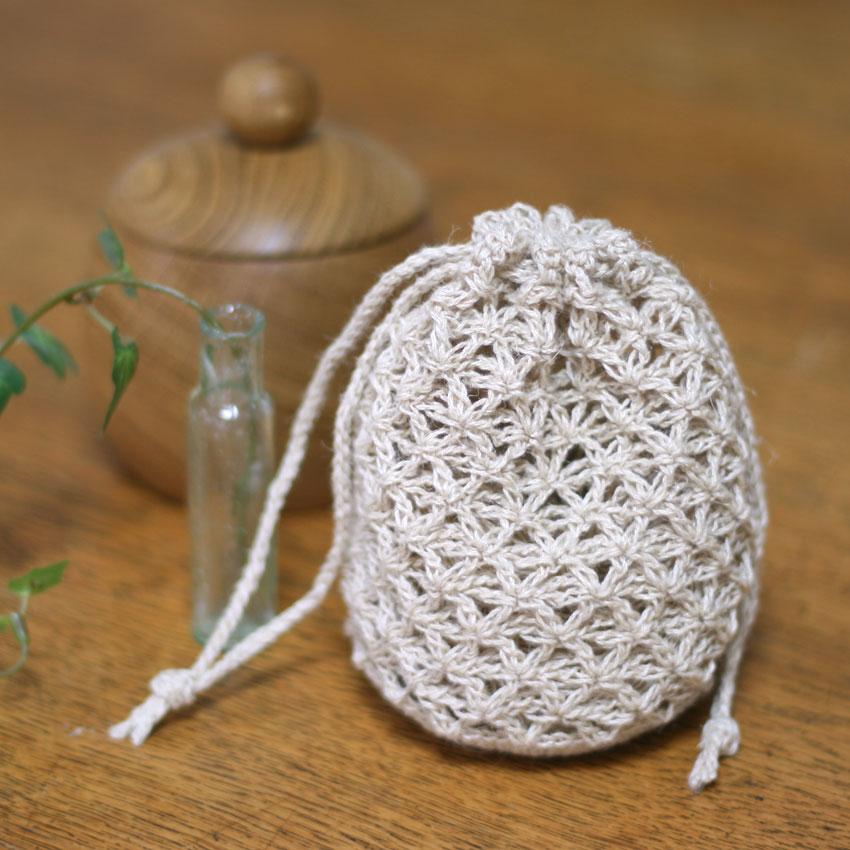 かぎ針編み 麻の葉きんちゃく