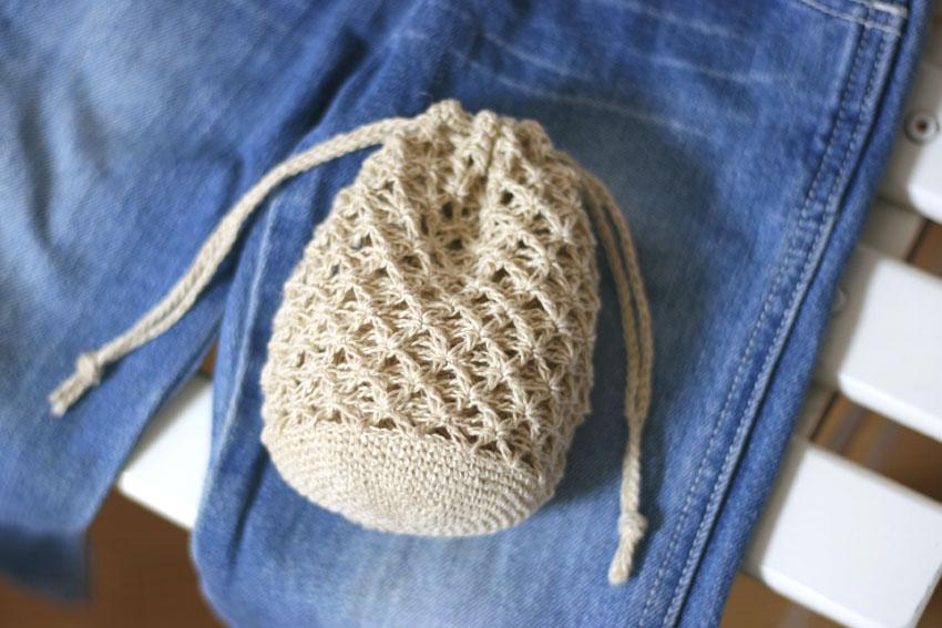 かぎ針編み 巾着袋 麻の葉模様の編み地