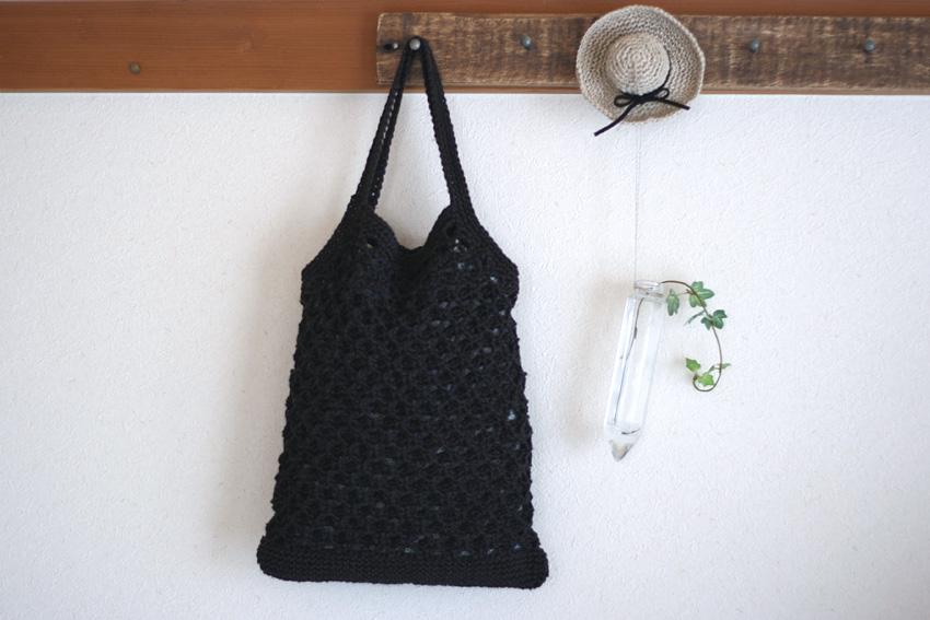 かぎ針編み 縦長トートバッグ