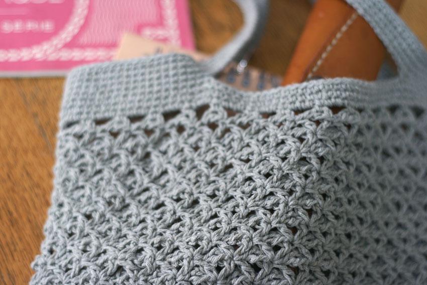 かぎ針編み 麻の葉模様のバッグ編み地