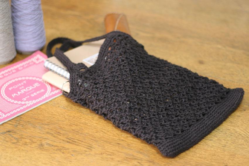 かぎ針編み ペタンコ型トートバッグ