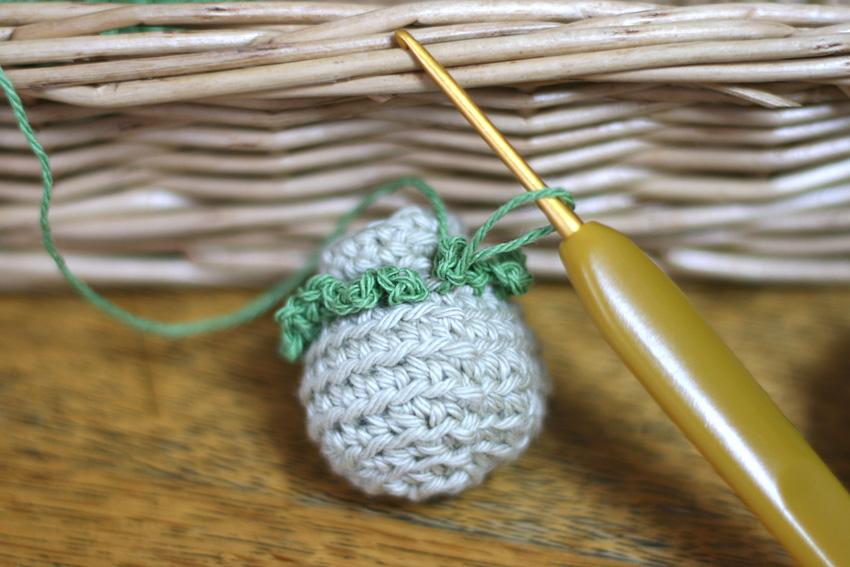 かぎ針編み ブロッコリー ふさふさ編みつけ
