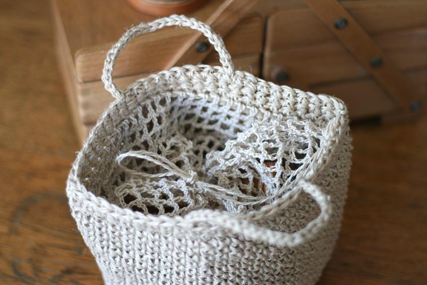 かぎ針編み バッグ口に巾着つき