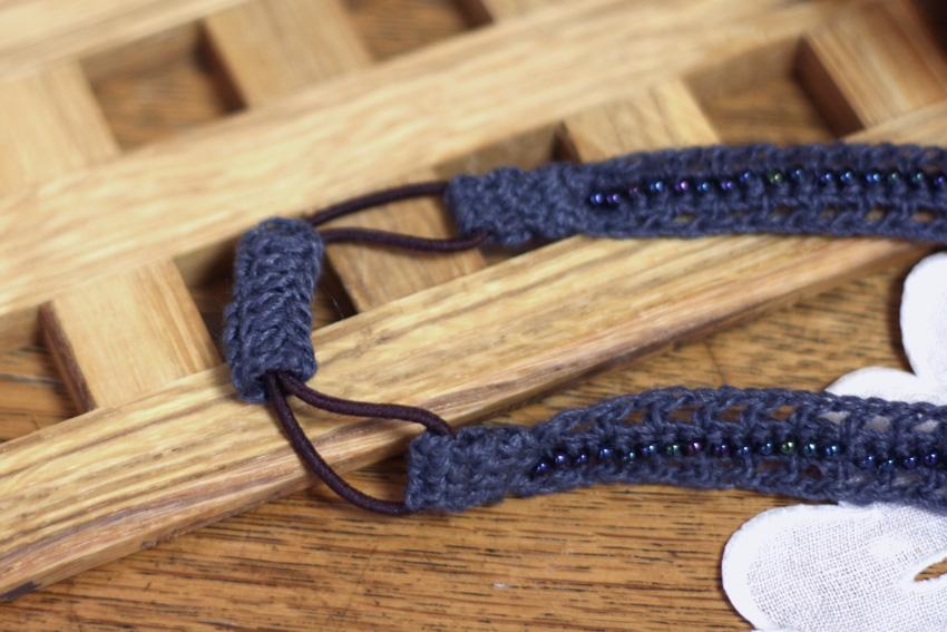 かぎ針編み ヘアバンド カチューム ゴムの位置