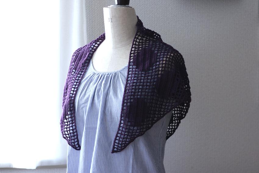 かぎ針編み 水玉模様 三角ストール