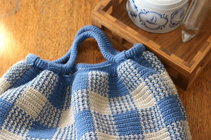 かぎ針編み ギンガムチェック編み地
