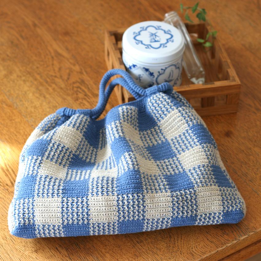 かぎ針編み ギンガムチェックのギャザーバッグ