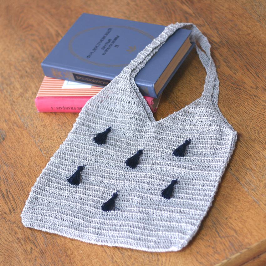 かぎ針編み タッセル付キャミバッグ