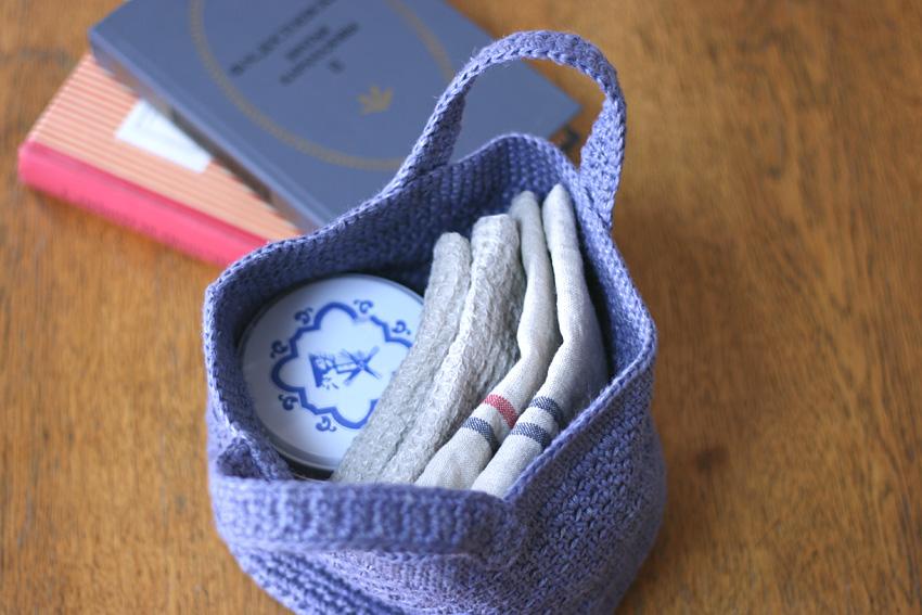 かぎ針編み シンプル丸底バッグ サイズ参考