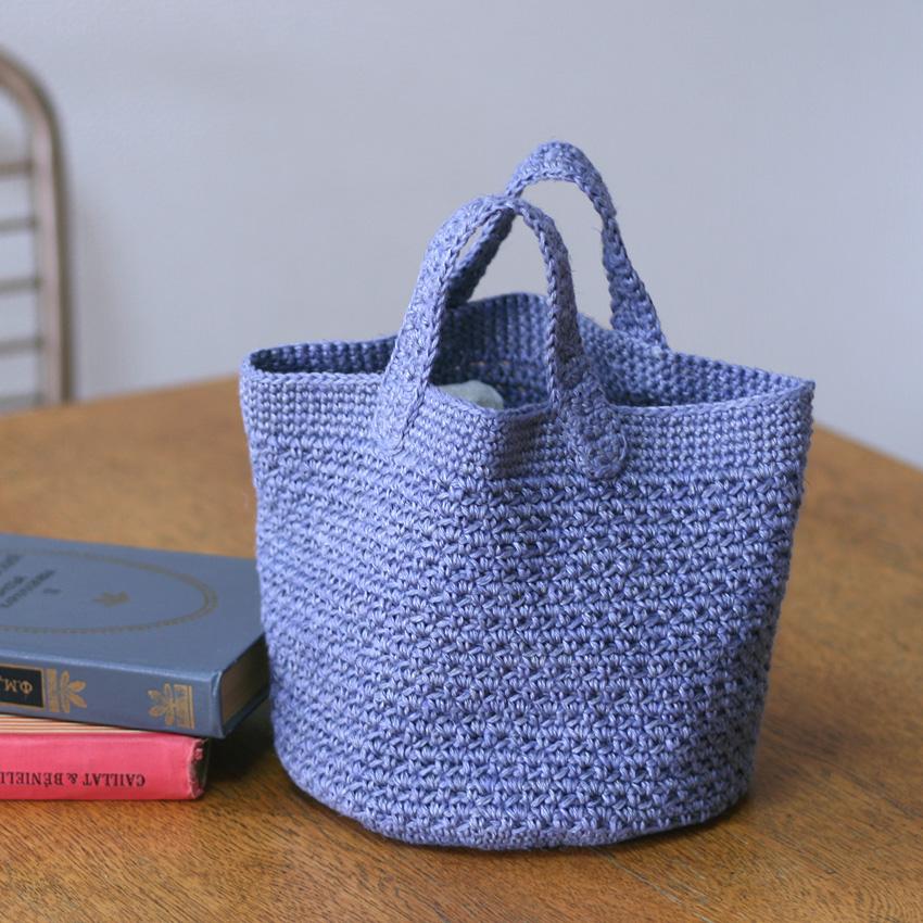 かぎ針編み シンプル丸底バッグ