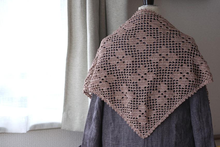 かぎ針編み 方眼編み お花柄 ストール