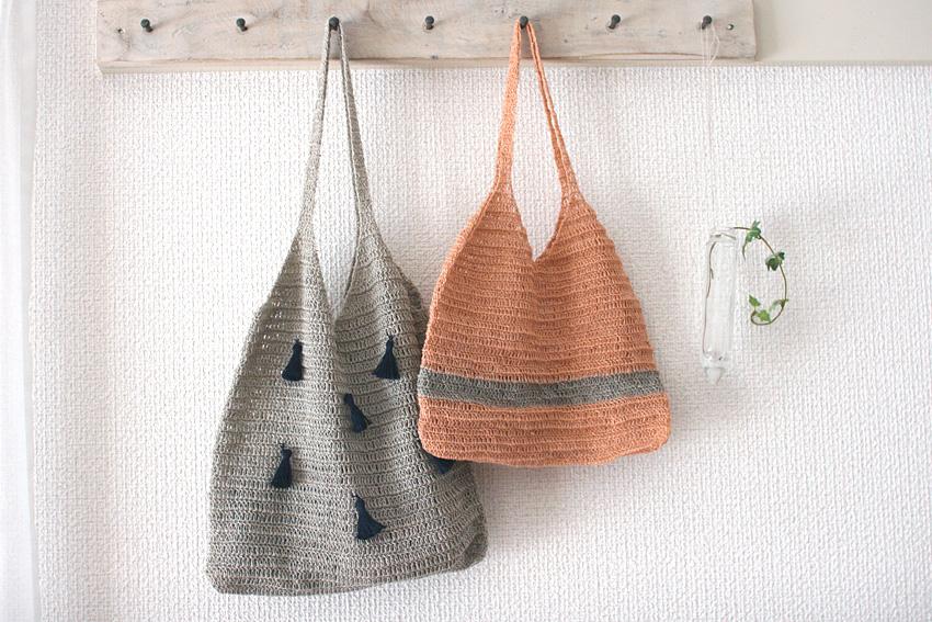 かぎ針編み キャミバッグ色違い