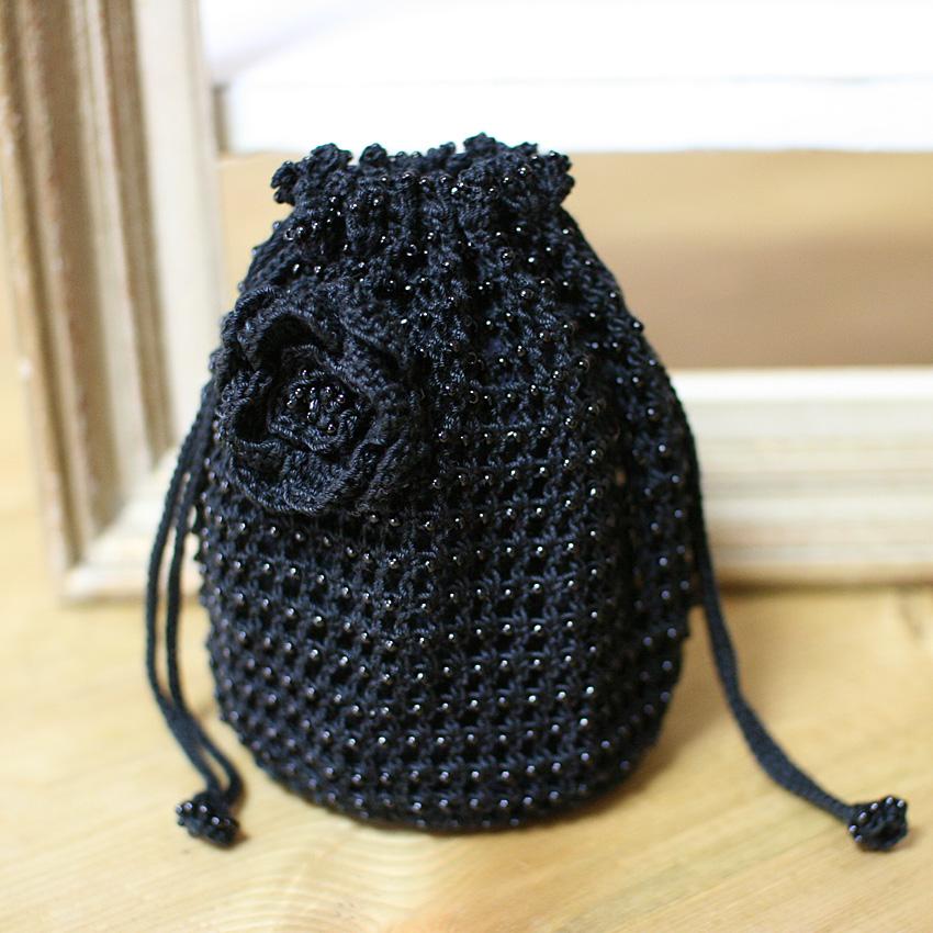 かぎ針編み ビーズ編み巾着