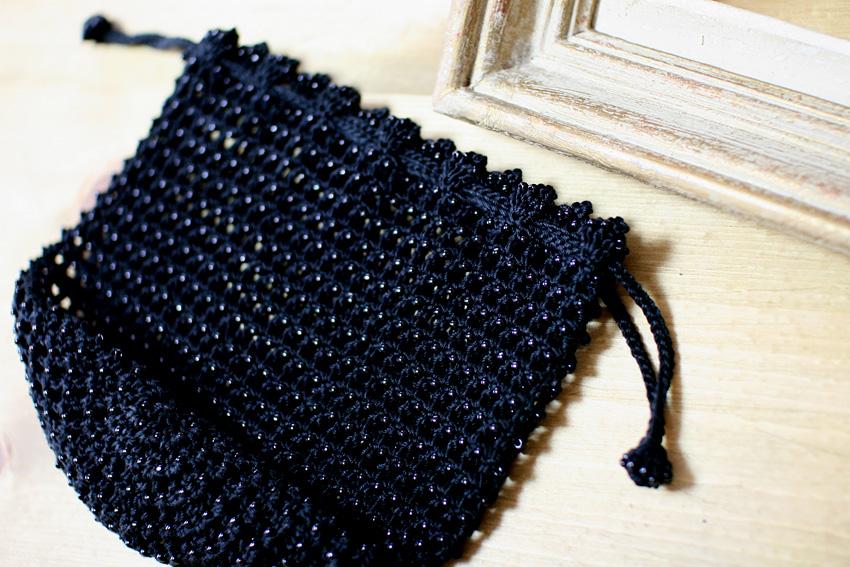 かぎ針編み 巾着 広げるとこのような感じです