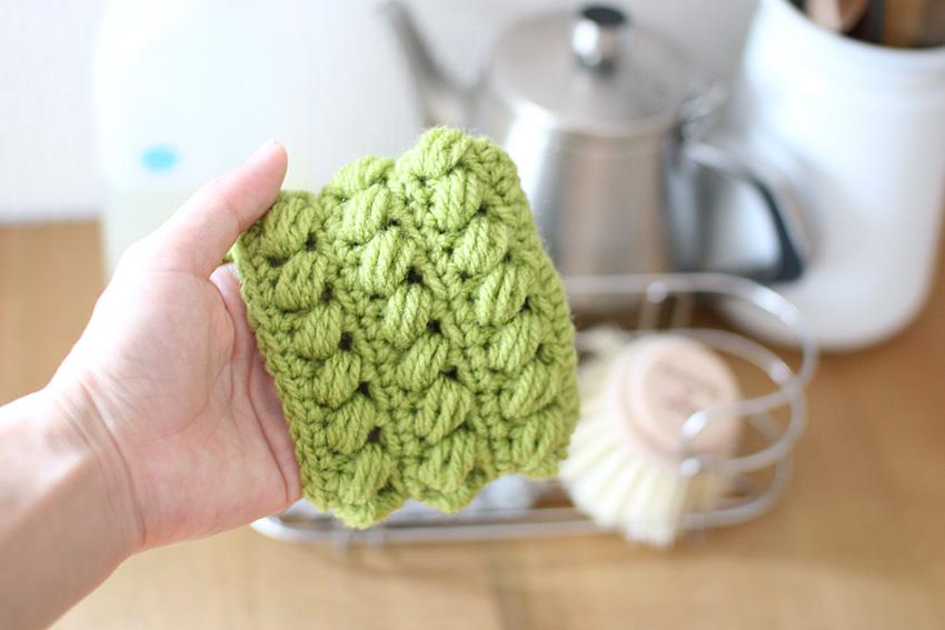 かぎ針編み 手を入れて使えるエコタワシ