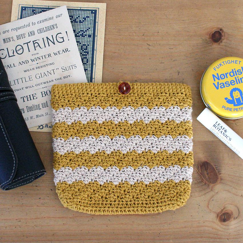 かぎ針編み レトロなポーチ