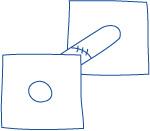 かぎ針編み 三方 穴のあるパーツ