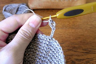 かぎ針編み 麻の葉模様Ⅱ ②くさりを6目編みます