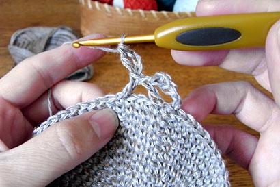 かぎ針編み 麻の葉模様Ⅱ ⑥⑤で長編みを1目編みました