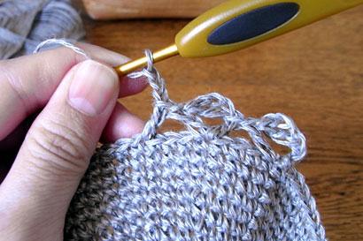 かぎ針編み 麻の葉模様Ⅱ ⑧さらにくさり3目を編みます
