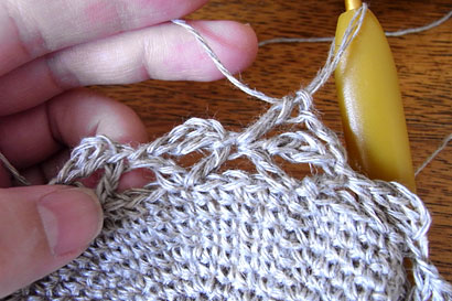 かぎ針編み 麻の葉模様Ⅱ ⑪2段目の長編みを編みつける位置は画像参照
