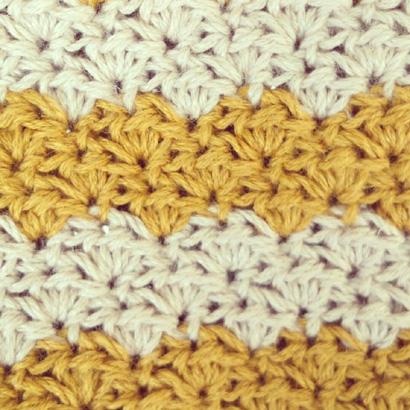 かぎ針編み レトロなポーチの編み地の表側