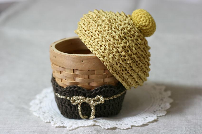 かぎ針編み モンブランのふたが開きます