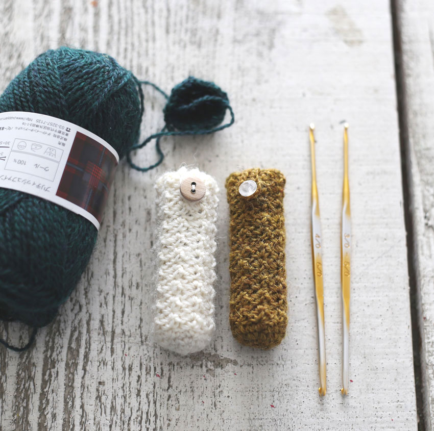かぎ針編み 少しの糸で短時間で編めるリップケース