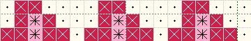 かぎ針編み イチゴ3連の編み込み図