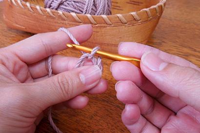かぎ針編み わ編み [6]糸をひっぱり出しました