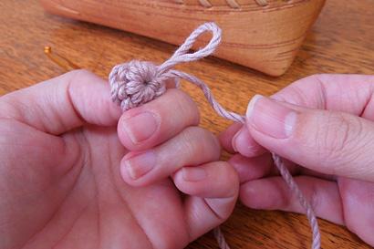 かぎ針編み わ編み [20] 糸を引き締めます