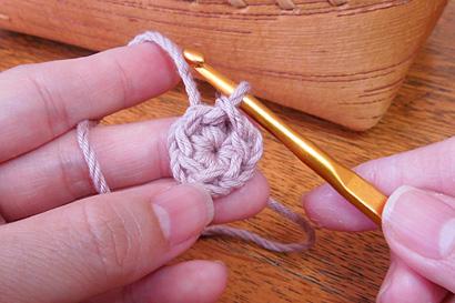 かぎ針編み わ編み [22] 編み地を表側から見た様子