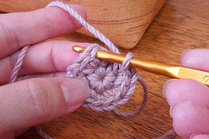 かぎ針編み わ編み [34]針を入れました