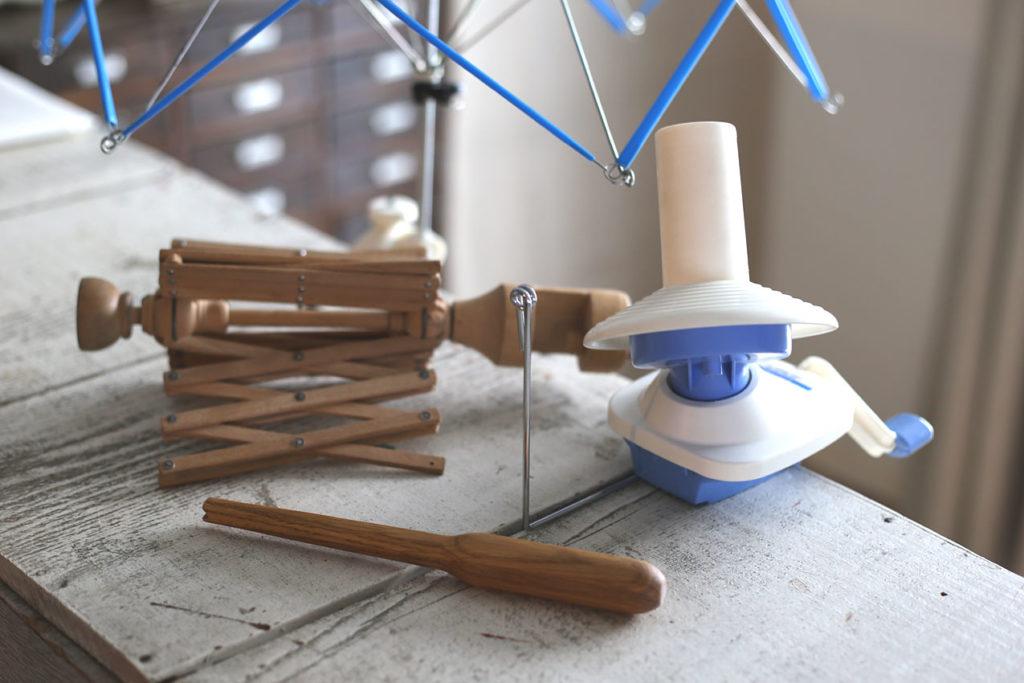 かぎ針編み 糸巻き機とかせくり機、ノステピン