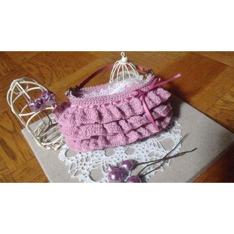 sattoさんの「フリルのミニ・ポーチ」かぎ針編み 作品