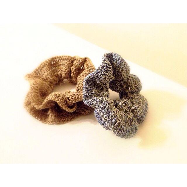 koalaさんの「バイアスフリル風シュシュ」かぎ針編み 作品
