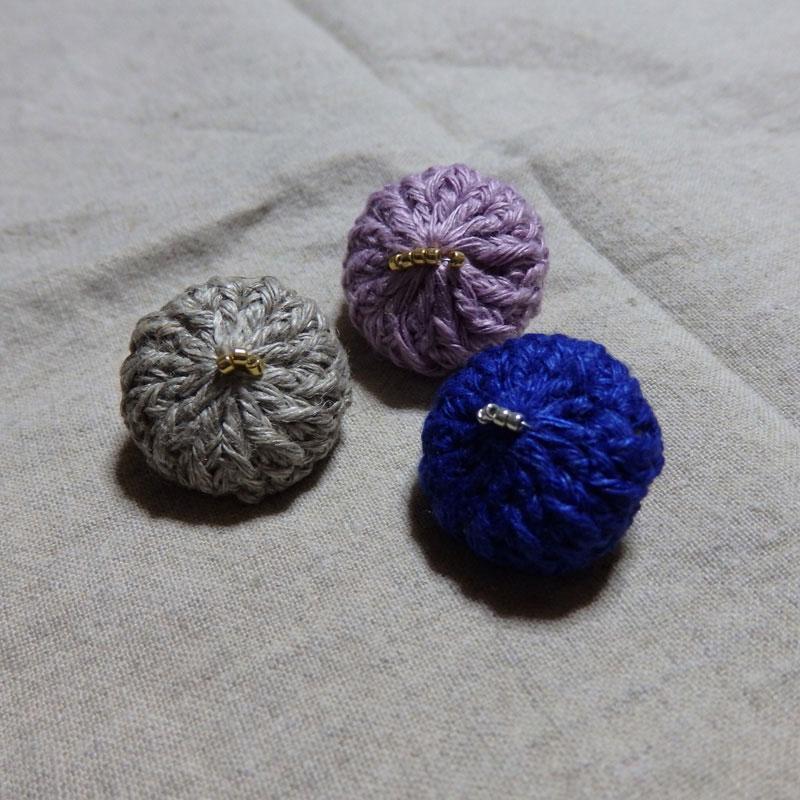 takechanさんの「リネンのミニブローチ」かぎ針編み 作品