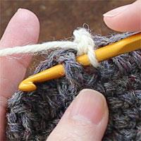 こま編み表引き上げ編み[1] 前段の目を横からまるごとすくいます。