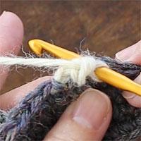 バックこま編み[7] 針を入れました。糸をかけて引き出します。