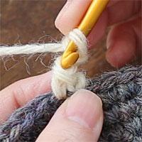 ピコット編み[3] こま編みの目の、手前側の2本に針を入れて引き抜き編みをします。