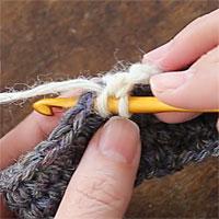 中長編み[2] 前段の目に針を入れます。
