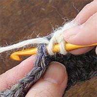 中長編み2目編み入れる[1] 糸をかけて針を入れます。