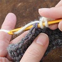 中長編み2目一度[2] 前段の目に針を入れます。