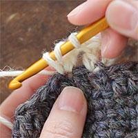 長編み2目編み入れる[3] 同じところに針を入れて、もう1目長編みを編みます。