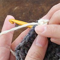 長編み2目一度[2] 針を入れました。糸をかけて引き出します。