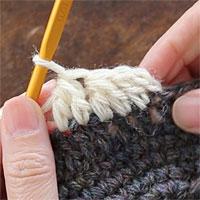 長編み2目一度[8] 3模様編むとこのようになります。